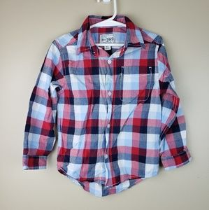EUC Childrens Place Plaid Button-down Shirt, 5T
